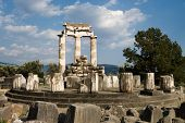 Tholos of temples circular of Sanctuary of Athena Pronaia of oracle delphic, Greece poster