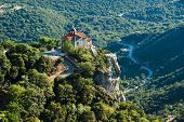 valley of river Loussios and Agios Athanassios church in Timios Prodromos Monastery poster
