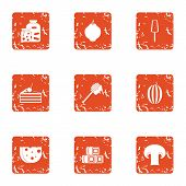 Dangerous food icons set. Grunge set of 9 dangerous food vector icons for web isolated on white background poster