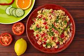 Tabule cous cous salad fresh with vegetables poster
