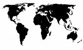 Vector World Map - Africa America Asia Europe and Oceania - Black on white background poster