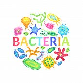 Bacteria and other microorganisms color poster isolated on white vector illustration of small animals with horns and sensitive appendages on bodies poster