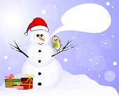 Snowman and lucky birds with clover and gifts poster