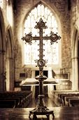 Catholic cross in a church, Spirituality Catholicism poster