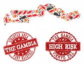 Disaster combination of mosaic map of the Gambia and grunge seal stamps. Vector red seals with grunge rubber texture for high risk regions. Flat design for disaster posters. poster