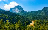 Cableway to Mount Canin with Mount Bila Pec, Sella Nevea, Udine, Friuli, Italy, Europe poster