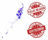 Business Contacts combination of blue mosaic map of Palau Islands and rubber seals. Vector red watermarks with grunge rubber texture have MADE IN and READY FOR BUSINESS texts. poster