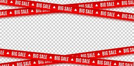 Red Ribbons For Christmas Sale Isolated On Transparent Background. Big Sale. Graphic Elements. Vecto