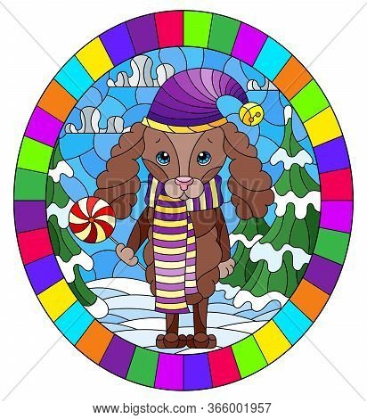 Illustration In Stained Glass Style On The Theme Of Winter Holidays, Cute Cartoon Poodle Dog On The