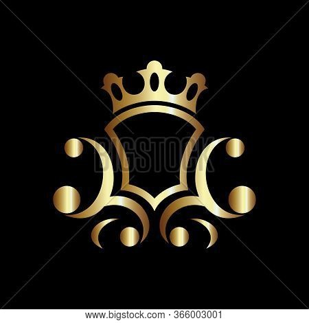 Luxury Royal Shield Vector, Good For Coat Of Arms And Knight Emblems Or Heraldic Shield Crest