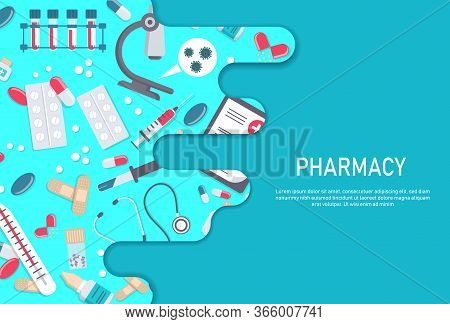Medicine vector illustration. Pharmacy background, pharmacy desing, pharmacy templates. Medicine, pharmacy, hospital set of drugs with labels. Medication, pharmaceutics concept. Different medical pills and bottles.