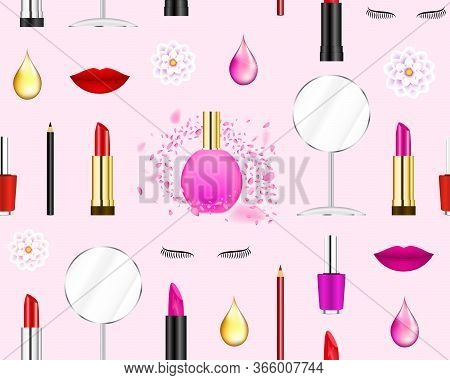 Makeup Collage Seamless Pattern. Beauty Care Products On Pastel Pink Background. Lipstick, Lips, Lip