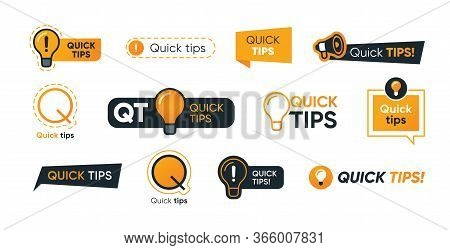 Quick Tips Letterings Set. Abstract Shapes, Speech Bubbles, Lightbulbs, Exclamation Marks With Text.