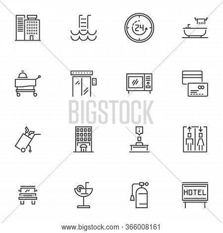 Hotel Service Line Icons Set, Outline Vector Symbol Collection, Linear Style Pictogram Pack. Signs L