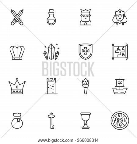 Fairytale Line Icons Set, Outline Vector Symbol Collection, Linear Style Pictogram Pack. Signs, Logo