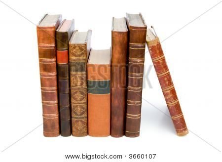 Row Of Antique Leather Books
