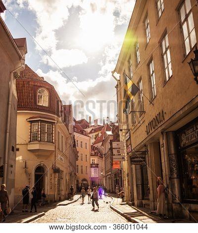 Tallinn, Estonia - August 4, 2018: Amazingly Beautiful Street In Tallinns Old Town. Historical Landm
