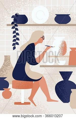 Enthusiastic Woman Decorating Pot Working At Ceramic Studio Vector Flat Illustration. Smiling Female