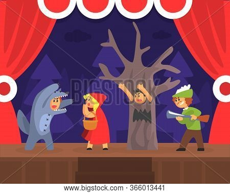 Children Theatre Performance, Kids Actors Performing Red Hood Fairy Tale Show Scene On Stage With Re