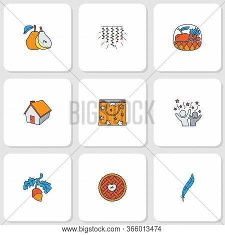 Festival Icons Colored Line Set With Small Hut, Acorn, Apple Pie And Other Harvest Elements. Isolate