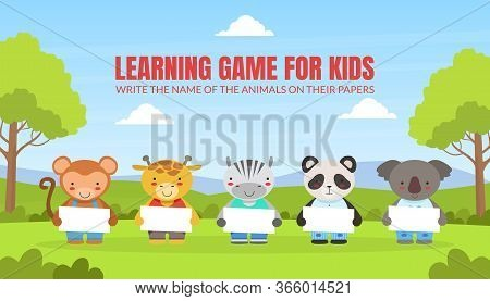 Write The Name Of The Animals On Their Papers, Learning Educational Game For Preschool Kids Vector I