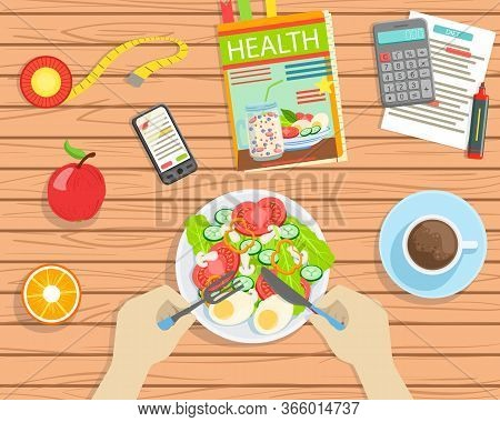 Person Eating Healthy Balanced Food, Top View Of Wooden Table With Delicious Dishes, Calculator, Sma
