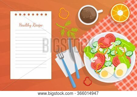 Healthy Recipe, Top View Of Table With Delicious Balanced Dishes Vector Illustration