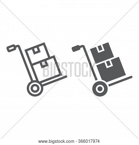 Hand Truck With Cardboard Boxes Line And Glyph Icon, Logistic And Delivery, Hand Dolly Sign Vector G