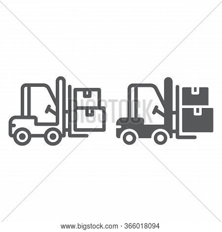 Forklift Truck Line And Glyph Icon, Logistic And Delivery, Bendi Truck With Boxes Sign Vector Graphi
