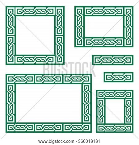 Celtic Vector Frame Or Border Pattern Collection Square And Rectangle Shapes - Green Irish Knots, Br