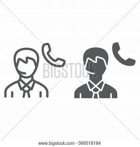 Call Center Line And Glyph Icon, Support And Helpline, Man Support Operator Sign Vector Graphics, A
