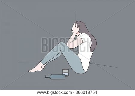 Female Alcoholism, Depression, Addiction, Mental Stress Concept. Depressed Frustrated Woman Alcoholi