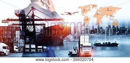 Business Logistics And Transportation Concept, Business Man Is Making Success In Service Of Logistic