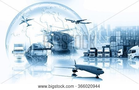 Global Business Of Container Cargo Freight Train For Business Logistics Concept, Air Cargo Trucking,