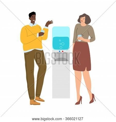 Cute Couple Of Young Man And Woman Drinking Water From The Cooler. Vector Illustration In Cartoon St