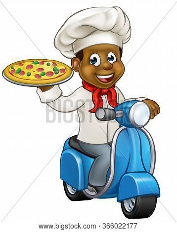 Cartoon Black Chef Or Cook Character Riding A Moped Motorbike Scooter Delivering A Pizza