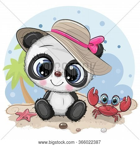 Cartoon Panda Girl In A Hat And Cute Crab On The Beach