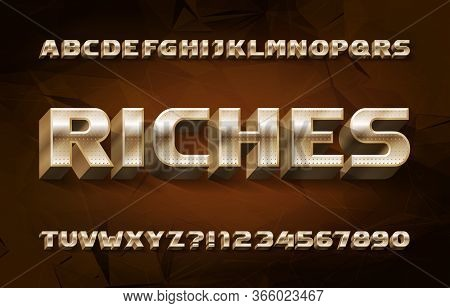 Riches Alphabet Font. 3d Golden Letters And Numbers. Abstract Polygonal Background. Stock Vector Typ