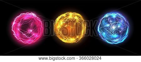 Energy Balls And Plasma Sphere, Vector Electric Lightning And Light Flash Sparks. Magic Lightning Di