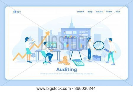 Auditing, Analysis, Accounting, Analytics. Audit Team Checks Information Data, Documents, Makes Calc