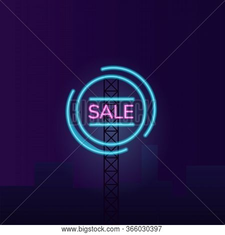 Night Sale Vector Neon Light Board Sign Illustration
