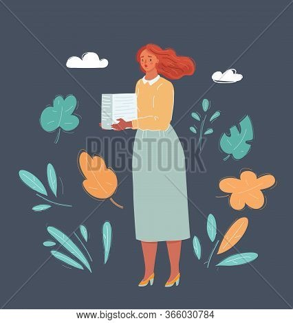 Illstration Of Very Busy Woman With Pile Of Paper Works