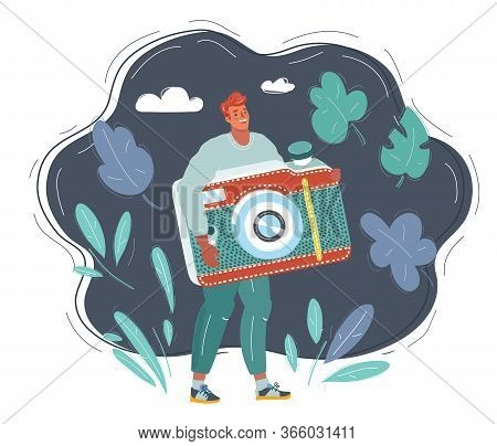 Illustration Of Tiny Man With Photocamera In His Hands On Dark Background.