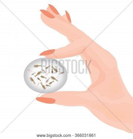 Bacteries In A Hand Vector Illustration On A White Background