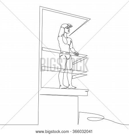 One Continuous Drawing Line Male Lifeguard Watches On A Beach Tower.single Hand Drawn Art Line Doodl