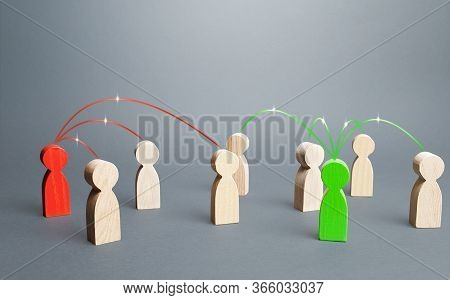 Red And Green Persons Compete For Influences On Other People. Build Support, Strengthen Your Positio