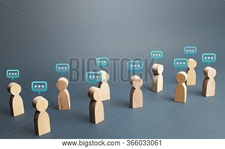 People Figures With Comment Clouds Above Their Heads. Commenting On Feedback, Participation In Discu