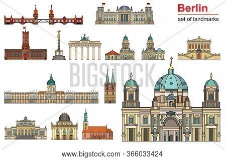 Colorful Vector Set Of Landmarks Of Berlin, Germany In  Line Art Style. Flat Vector Colorful Illustr