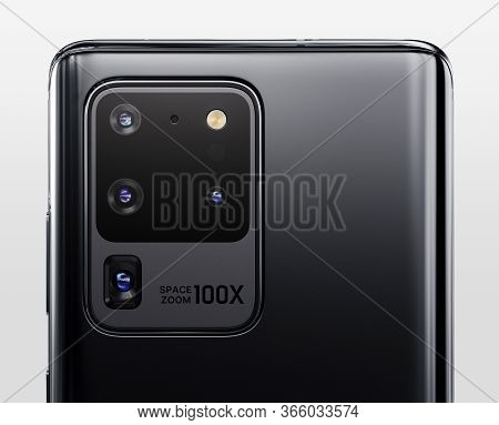 Verona, Italy - 01 May, 2020: Newly Launched Samsung Galaxy S20 5g Ultra Smartphone Is Displayed For