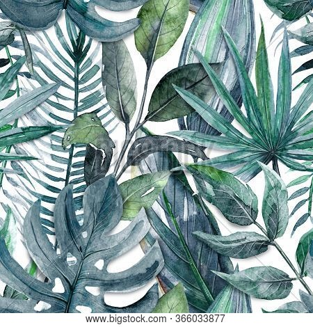 Seamless Pattern With Watercolor Tropical Leaves And Plants